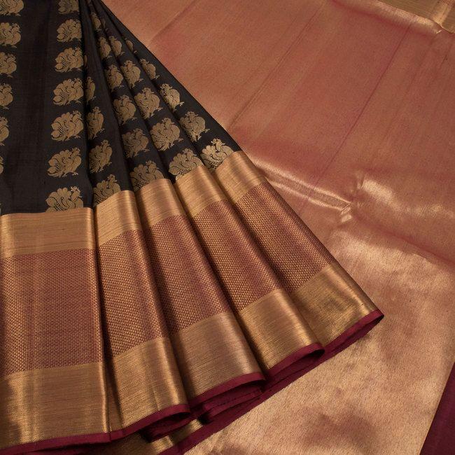 Handwoven Black Kanjivaram Silk Saree With Hamsa Motifs & Tissue border by Subhashini 10011282 - AVISHYA.COM