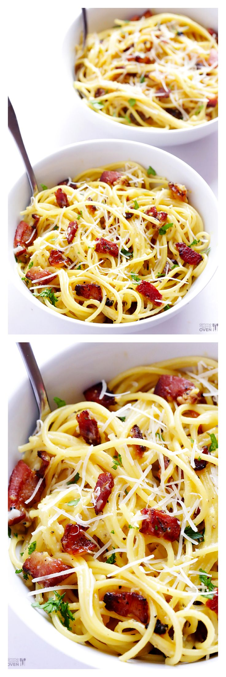 Spaghetti Carbonara -- one of my all-time FAVORITE pastas | gimmesomeoven.com #pasta #bacon #recipe