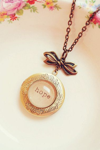 Handmade Hope Inspiration Locket with Bow