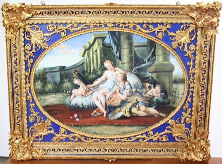 Hand-painted & hand-fired French porcelain painting of Boucher's Moment of Love, Rinaldo & Armida. The original version was Boucher's admission piece for the Royal Academy in 1794. The work remained in the Academythroughout the 18th century, entered the Museum Central des Arts de la Replublique, which would later become The Louvre. The original version was inspired by Tasso's Gerusalemme liberata, a romantic poem of theFirst Crusade. Oval portion of painting approx 17 1&#x...