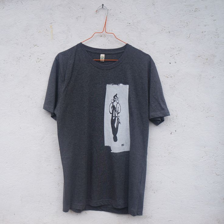 Long Bike Shadow hand screen printed grey organic t-shirt for men - gift for cyclists by LOSTSHAPESPRINTS on Etsy https://www.etsy.com/listing/177390438/long-bike-shadow-hand-screen-printed