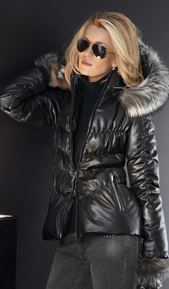 Women fashion clothing outfit style jeans black jacket fur sunglasses earrings fur sweater casual winter