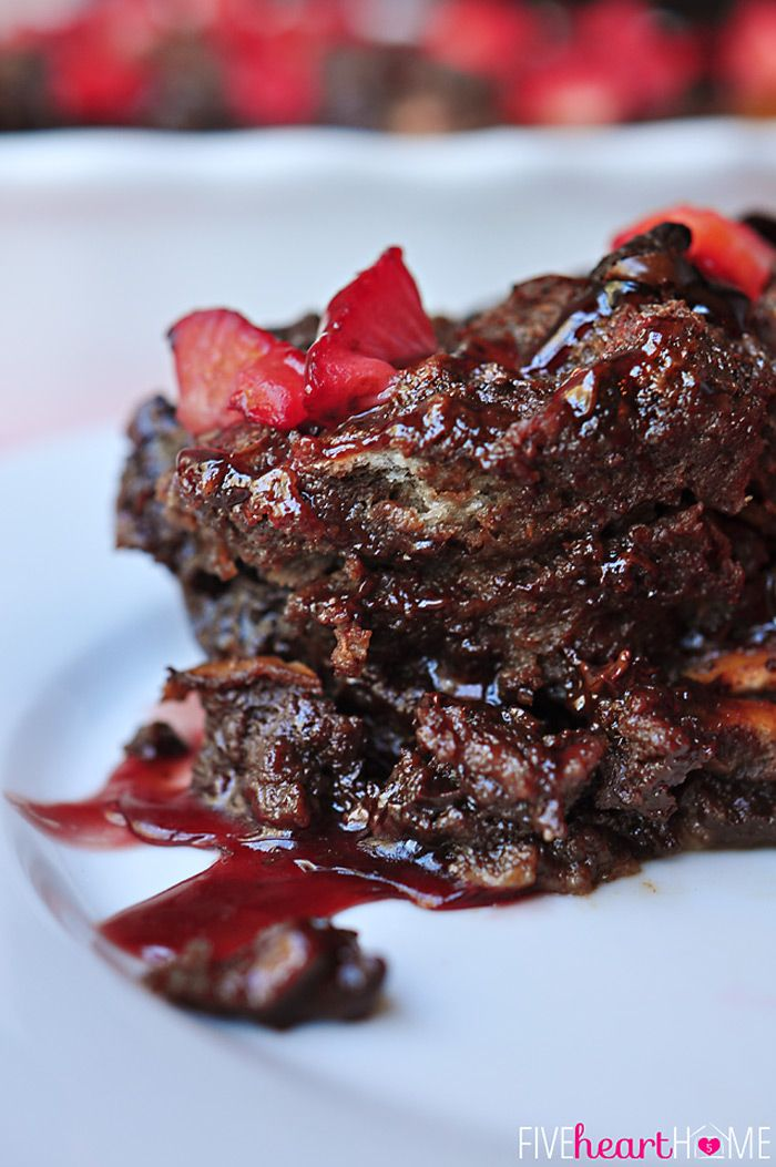 Chocolate Bread Pudding with Raspberry Sauce ~ warm, decadent dessert for your favorite chocoholic! Recipe includes a variation for Kahlua C...