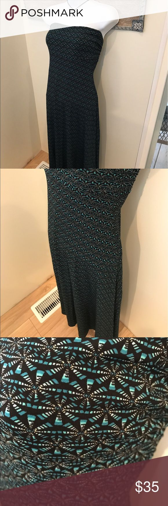 EUC XS Lularoe Teal & Black Maxi Skirt EUC Lularoe Maxi Dress / Skirt Excellent condition, worn maybe once and washed per LLR Black background with teal and white Slinky material Nonsmoking home LuLaRoe Skirts Maxi