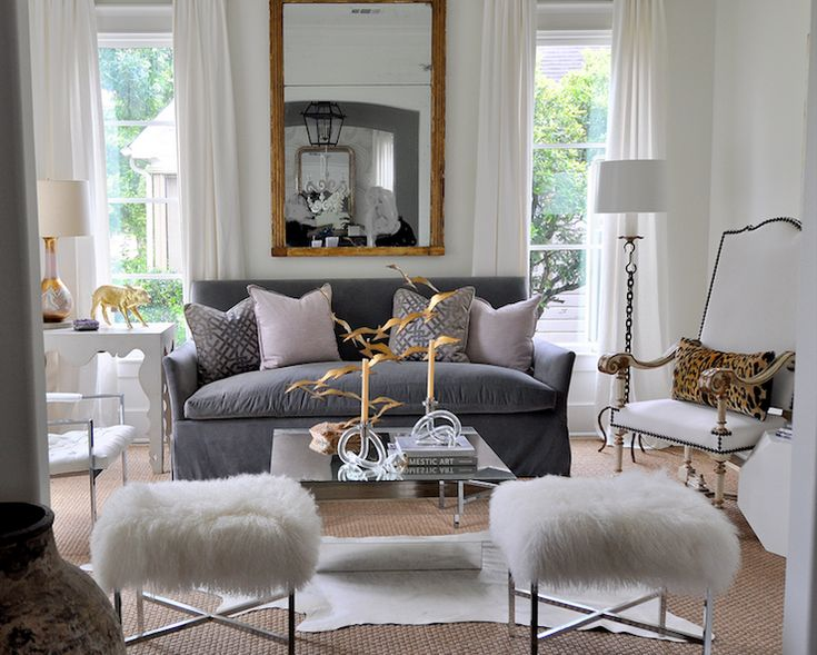 Room Of The Day Kelly Wearstler Ombre Maze Lilac Pillows White Drapes Gold Leaf Mirror Blue Slipcover Sofa Art Deco Mirrored Coffee Table