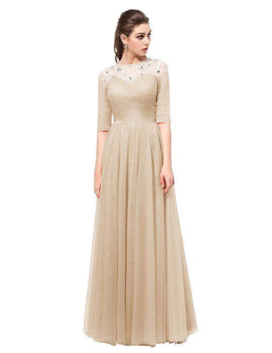 Dresstell レディーズ ロング丈 お呼ばれ 結婚式ドレス フォーマルドレス ビジュー付き カラーチュチュ 袖付き 花嫁ワンピース 二次会ドレス 編み上げ ダンスドレス シャンペン 7号