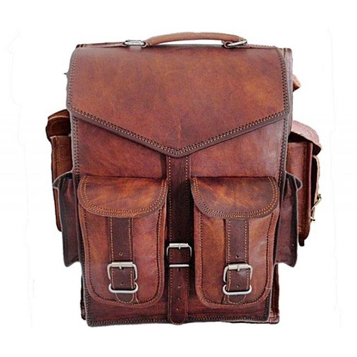 A beautifully handcrafted vintage style leather backpack that you will still be using years. Bag can be used as Backpack and / or as Briefcase / Messenger Bag. Backpack is made of genuine leather processed properly left with no smell, tanned with sun flower oil (a traditional method used in India, P