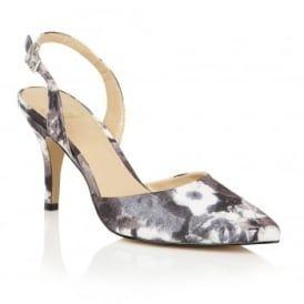 Bridgitte Black Floral Sling-Back Court Shoes