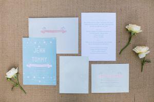 Cute, blue wedding invitations// Jenn & Tommy's Colorful, Romantic Fairytale Wedding// Novato, CA// Jasmine Lee Photography #rusticwedding