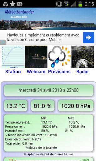 Météo Santander (Espagne).<br>L'application de la station météo de Santander.<br>Découvrez le temps qu'il fait à Santander mais également les prévisions météo, webcam, radars...