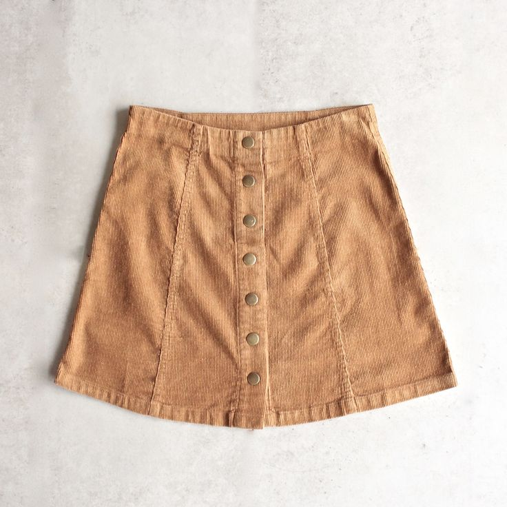 corduroy button up a line skirt - camel