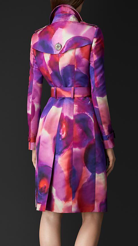 Vermelho berry Trench coat de algodão e seda com estampa floral - Imagem 2