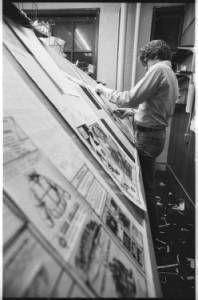 Pasting up the Post in Baker Center, Ohio University student newspaper, 1979 :: Ohio University Archives