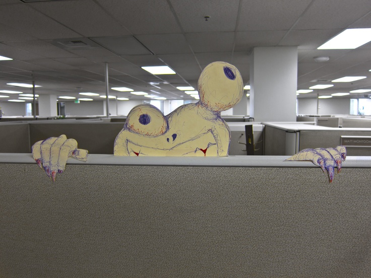 cubicle creature maybe the best thing i ever made with misappropriated state property halloween cubiclehalloween officecubicle decorationscubicle