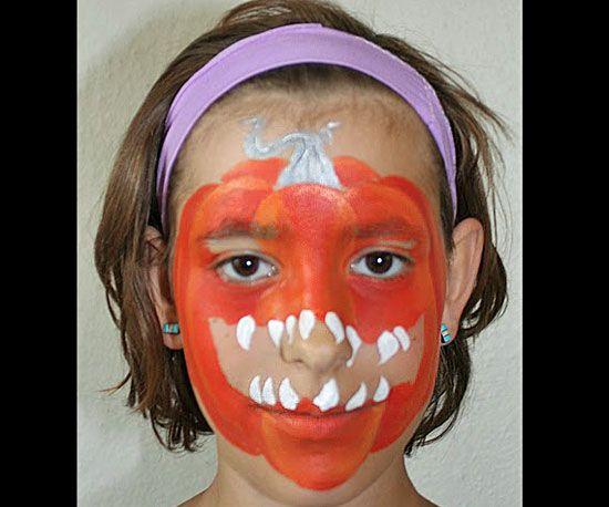 {Scary Pumpkin Face Paint} #halloween #jackolantern