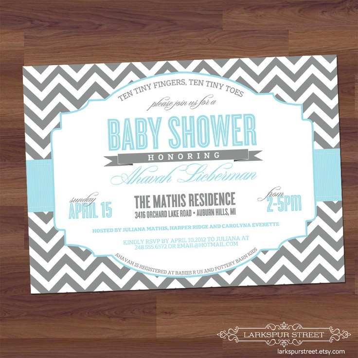 Baby Shower Invitation - Chevron - Modern - Twins, Boy, Girl, Neutral, Sex Unkown, blue, light grey, gray (digital diy printable). $16.00, via Etsy.Showers, Shower Ideas, Shower Diy, Couples Shower, Baby Shower Invitations, Gender Neutral, Chevron Typography, Diy Printables, Baby Shower