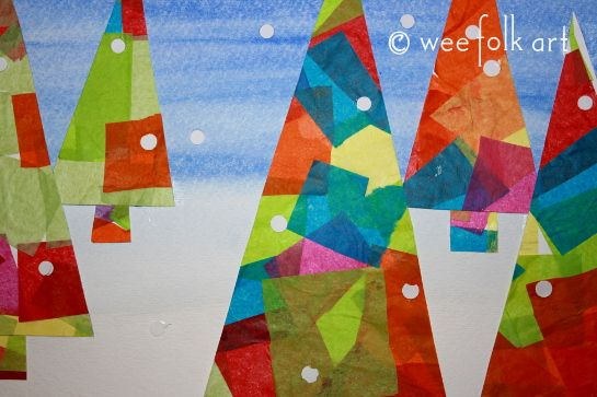 Wee Folk Art - handmade holiday cards with tissue paper art.