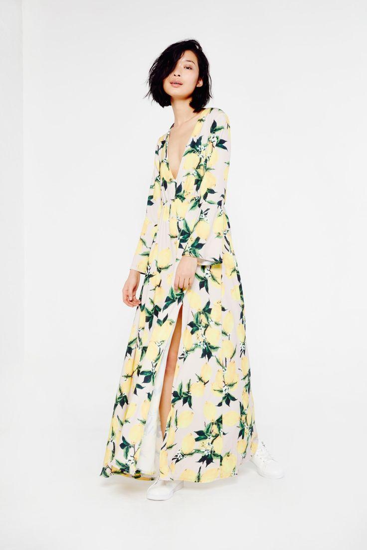 Long Sleeve Lemon Print Maxi Dress With Slits