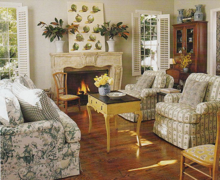Country French Chinoiserie Fabric ROOM Family Living Rooms