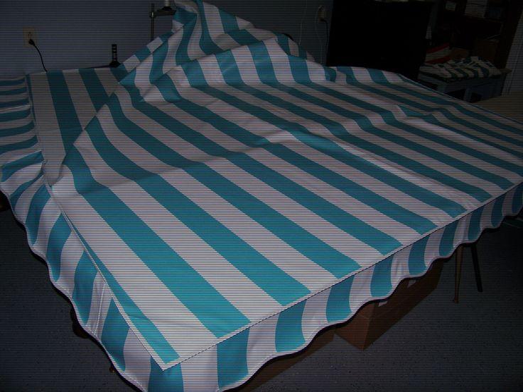 Vintage Camper Awning Aqua/white cabana stripe  9'x7' by SewCountryAwnings on Etsy https://www.etsy.com/listing/247060716/vintage-camper-awning-aquawhite-cabana