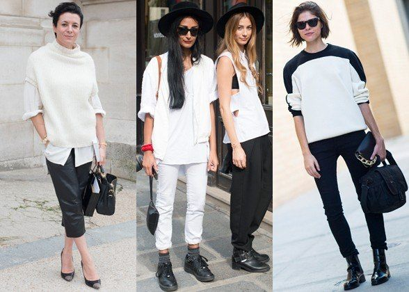 Minimalist beginners, take note: black and white is the easiest and fastest way to nail down this look. Side by side, the two non-colors have a clean-lined graphic effect that does all the work for you; alone, each one makes for a striking monochromatic outfit. Although it's fine to throw extra elements in the mix (keep reading!), super-simple is the best place to start.