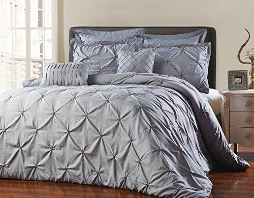 california king size comforter set reversible bedding free 8piece soft gray new uniquehome