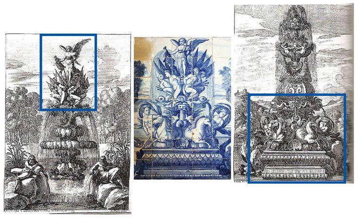 Gravuras / engravings: Jean Lepautre | gravuras n.º 1167 e 1169  |||  Azulejos:  Lisboa | Palácio Centeno | Mestre P.M.P. (atr.), primeiro quartel do séc. XVIII / first quarter of 18th century #Azulejo #AzulejoDoMês #AzulejoOfTheMonth #JeanLepautre #PMP