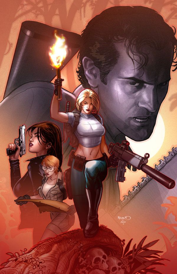 "Here's my cover for the Danger Girl and the Army of Darkness series. I was asked to go ""Indiana Jones"" for this cover. I used a couple of Bruce Campbell pics for Ash's likness, but let's face it, I..."