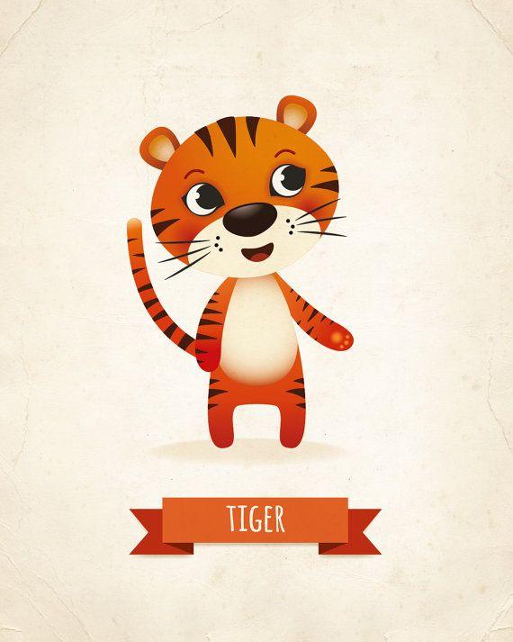 Lámina de vivero tigre vivero impresión por IreneGoughPrints