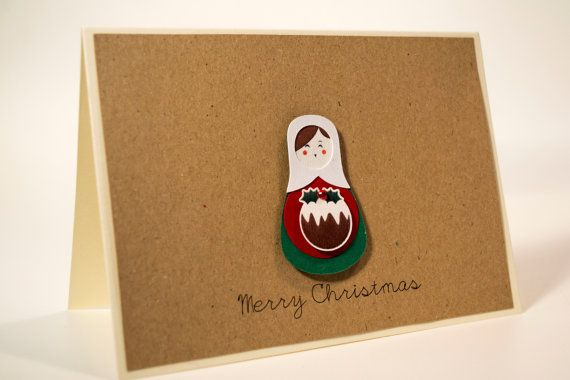 Unique handmade Christmas card/ Russian Doll, Matryoshka with a christmas pudding man and rhinestone, / 3D paper cut/ Kraft paper
