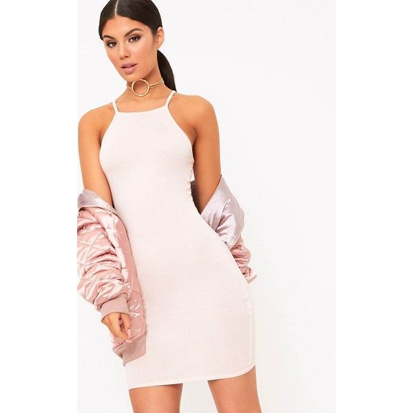 Theia Nude Jersey High Neck Bodycon Dress ($11) ❤ liked on Polyvore featuring dresses, high neck cocktail dress, jersey dress, bodycon cocktail dresses, theia dresses and body con dresses