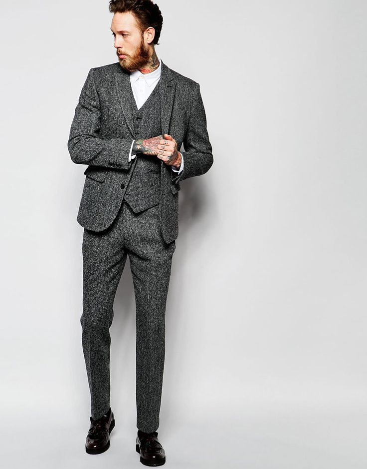 Image 1 - ASOS - Pantalon de costume cintré en tweed Harris - Gris