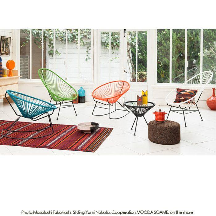 リビングでも庭でもくつろげる、メキシカンチェア。。【送料無料】Acapulco Chair アカプルコチェア メトロクス メキシカン PVCコード