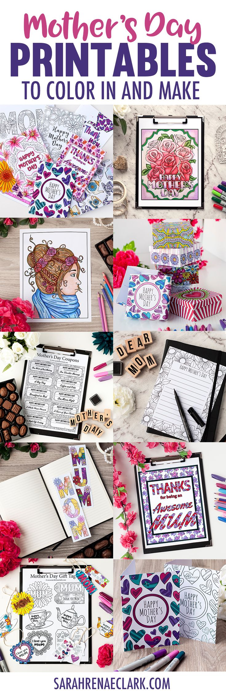 Huge collection of Mother's Day printables and Mother's Day crafts: Mother's Day coloring pages, Mother's Day cards, Mother's Day gift boxes, Mother's Day gift tags, Mother's Day stationery, Mother's Day coupons, Mother's Day bookmarks and a printable adult coloring book for moms! Get it all at www.sarahrenaeclark.com