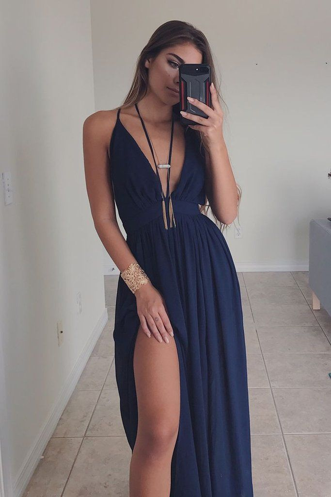 Navy maxi dress features adjustable straps, a v-neckline, and lining Material is Polyester Model Addison is 5'7 wearing a small Shop the look   Bust Length Smal