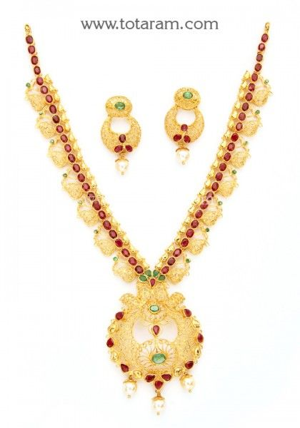 22K Gold Necklace & Earrings Set with Rubies , Emeralds & Japanese Pearls - 235-GS3025 - Buy this Latest Indian Gold Jewelry Design in 39.250 Grams for a low price of  $2,429.99