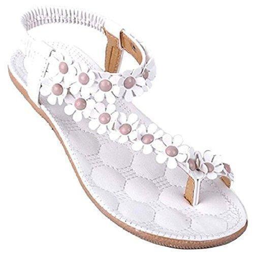 Oferta: 1.9€. Comprar Ofertas de Minetom Mujer Verano Sandalias Dulce Estilo Floral Abalorios Sandalias De Playa Clip Toe Zapatos Blanco 35 barato. ¡Mira las ofertas!