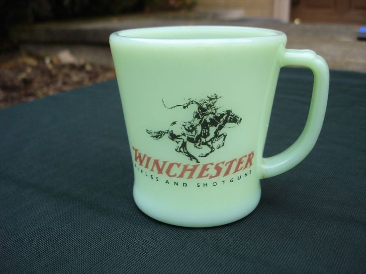 Fire king jadeite coffee mug Winchester Rifle Shotgun advertizing #FireKing