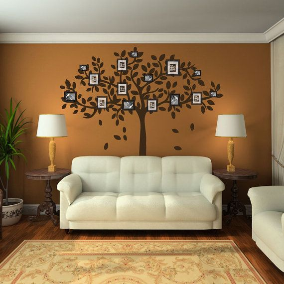 family tree wall decorations | Family Tree Wall Decal Sticker Picture Frame Tree Branch Leaves Leaf ...