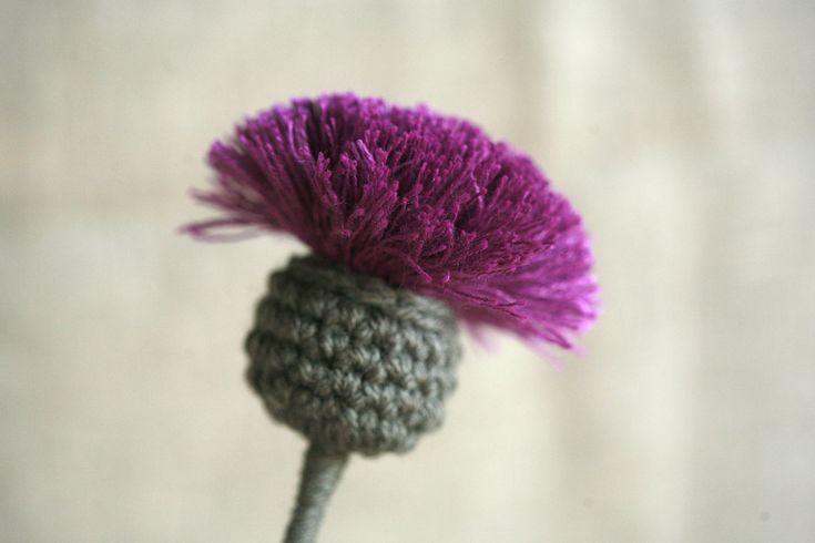 Pink and Violet Purple Crochet Thistle - TextileFlora
