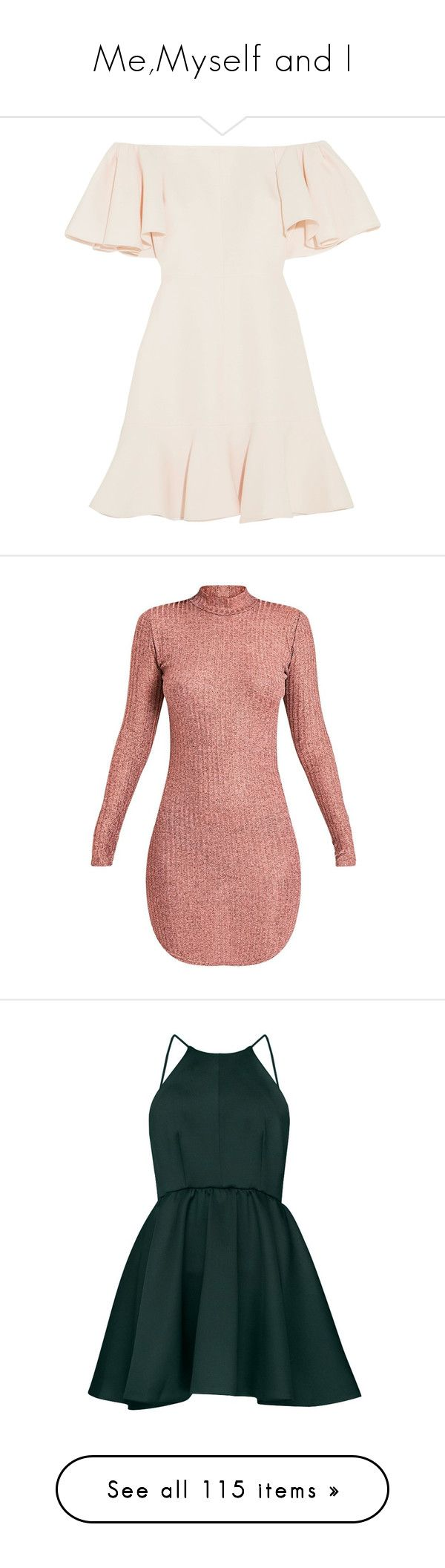 """""""Me,Myself and I"""" by bella-lovatic on Polyvore featuring dresses, vestidos, loose fitting dresses, flutter-sleeve dress, short dresses, pink mini dress, off the shoulder short dress, pink gold dress, high neck bodycon dress e body con dresses"""