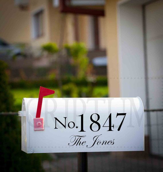 Set of 2 Mailbox Decals - a low cost way to class up your mailbox and add curb appeal to your home. Let visitors see your address easily from the street with this set of two vinyl decals.