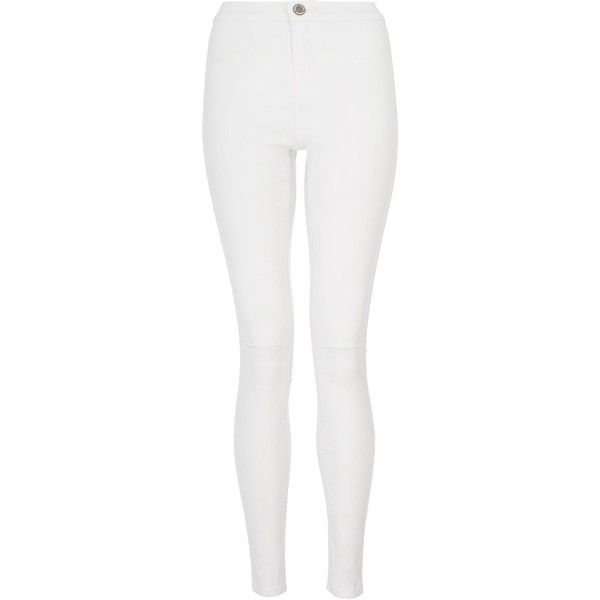 Quiz Knee Rip Jegging ($15) ❤ liked on Polyvore featuring pants, leggings, jeans, bottoms, white and clearance