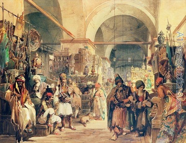 a-turkish-bazaar-1854-by-amadeo-preziosi.jpg (600×464)
