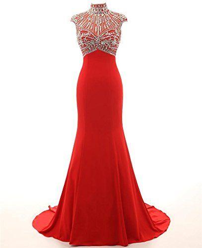 KISSBRIDAL Women's High Neck Cap Sleeve Mermaid Bead Prom Dresses Evening Gown