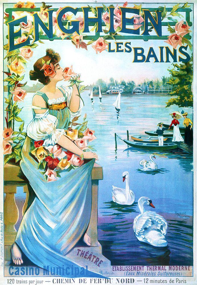 Affiche chemin de fer Nord - Enghien-les-Bains - illustration de Raymond Tournon - France -