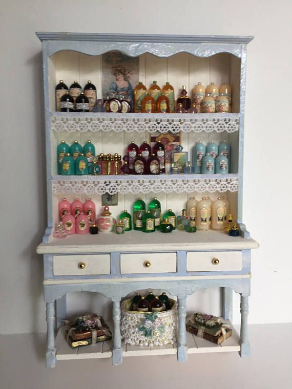 Miniature Dollhouse Ladies Perfume Shop Filled Display Hutch