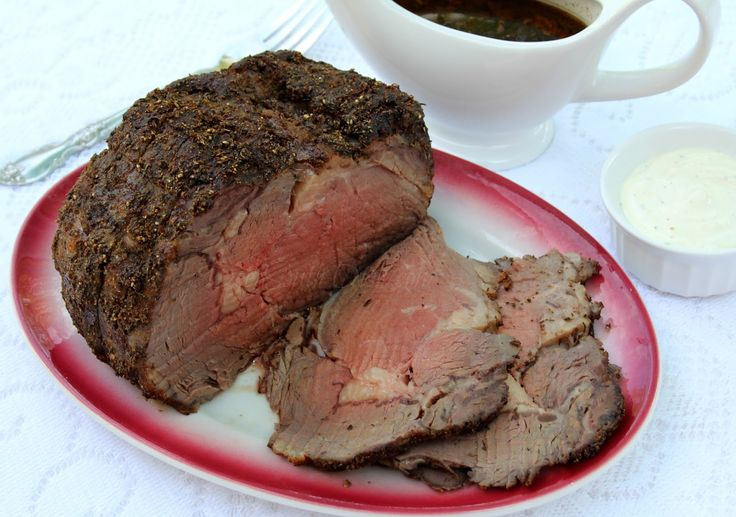 A boneless prime rib roast made with a rub of olive oil, herbs, spices and seasonings and served with an au jus. Offer an optional sour cr...