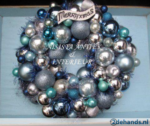 Nieuwe Kerstballen Krans Blauw Turkoois Zilver 40 cm - Te koop