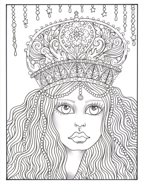 Crowned Fantasy Queens Coloring Book Digital Instant Etsy In 2020 Coloring Books Owl Coloring Pages Fantasy Queen